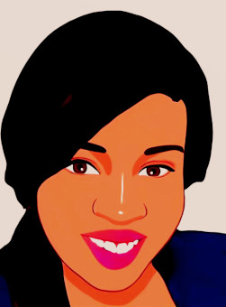 Animated face portrait of the author Thandeka Capulet above the link to the About Thandeka page.